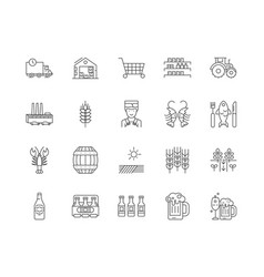 brewery shop line icons signs set vector image