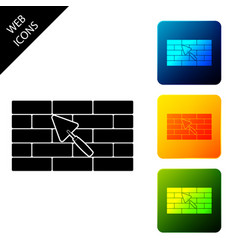 brick wall with trowel icon isolated set icons vector image
