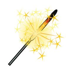 burning sparkler isolated on white background vector image