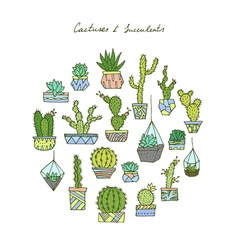 Cactuses succulents set vector