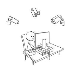 cartoon of businessman employee under camera vector image