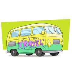 Cartoon retro van bus with text label travel vector