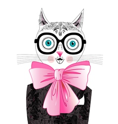 Cat portrait hipster vector image