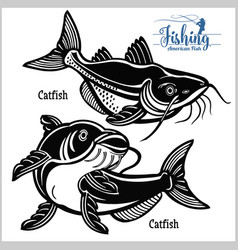 Catfish - set fishing on usa isolated on vector