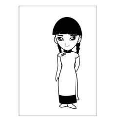 Chinese women cartoon vector image