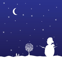 christmas eve with snowman vector image