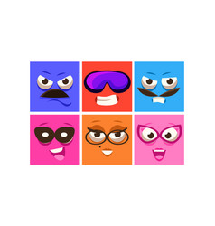 colorful square faces with different emotions set vector image