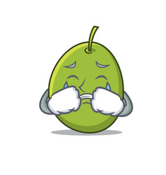 crying olive mascot cartoon style vector image