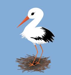cute stork on a nest vector image