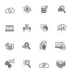 Database analytics icons black vector image