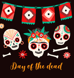day dead mexican holiday card flat vector image