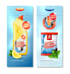 Drain cleaner vertical posters vector
