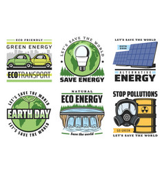 eco energy icons globe green leaves solar power vector image