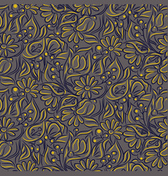 engraving sketch flower seamless pattern vector image
