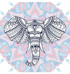 Ethnic patterned head indian elephant vector