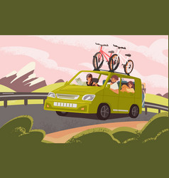Family road trip on camper car flat vector