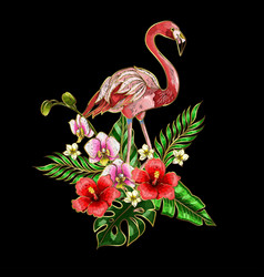 flamingo embroidery patches with tropical flowers vector image