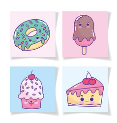 Food cute donut ice cream in stick cake and vector