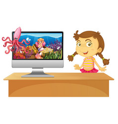 girl next to computer with underwater scene on vector image