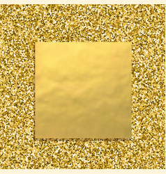 Glitter golden background with square gold banner vector