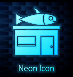 Glowing neon seafood store icon isolated on brick vector