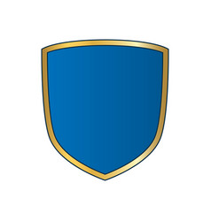 Gold-blue shield shape icon bright logo emblem vector