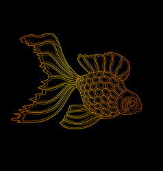gold fish line art design vector image