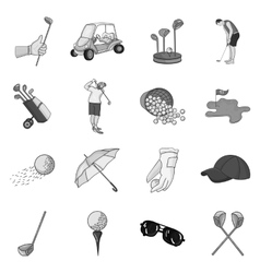 Golf club set icons in monochrome style Big vector
