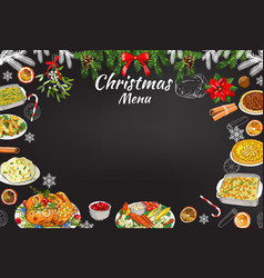 hand-drawn chalk restaurant festive menu template vector image
