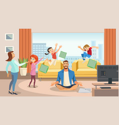 happy father in lotus position surrounded family vector image