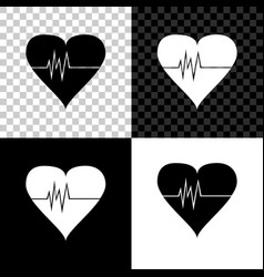 heart rate icon isolated on black white and vector image