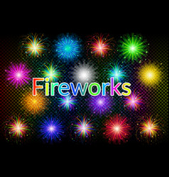 holiday fireworks set vector image