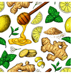 Honey ginger lemon and mint seamless vector