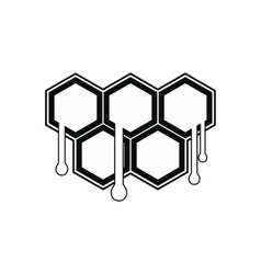 Honeycomb with drops black simple icon vector image