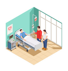Hospital visit friends isometric composition vector