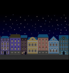 Houses at night old european city street with vector