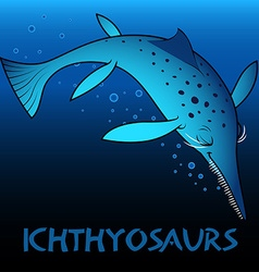 Ichthyosaurs cute character dinosaurs vector