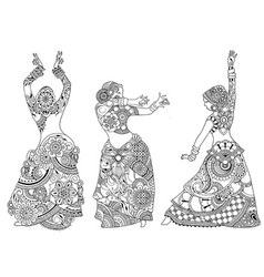 Indian dancers in the style of mehndi vector