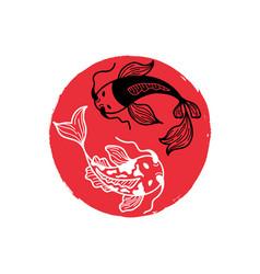 Japanese carp koi on red round brush spot vector