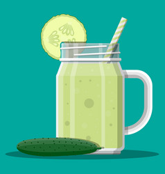 jar with cucumber smoothie with striped straw vector image