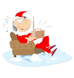 Listening the radio santa claus vector