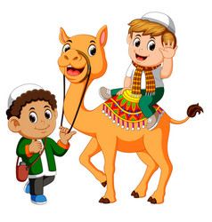 little kid riding camel vector image