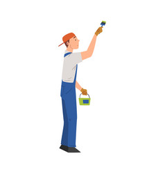 man painting wall with brush home renovation vector image
