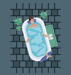 man taking a bath tub vector image
