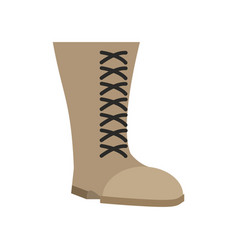 military boots beige isolated army shoes on white vector image