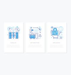 navigation - line design style banners set vector image