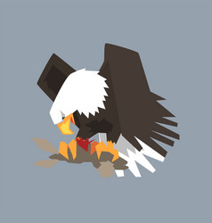 North american bald eagle character eating his vector