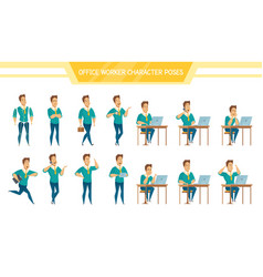 Office worker male poses set vector