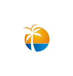 Palm tree beach icon logo vector