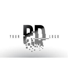 pd p d pixel letter logo with digital shattered vector image